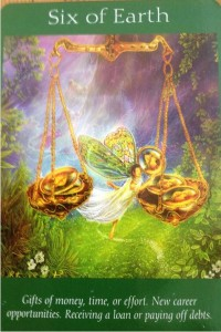 Six of earth Taken from Doreen Virtue - Angel Tarot set